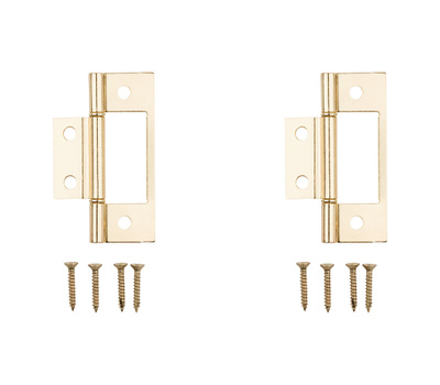 National Hardware N146-951 S402-134 Bi-Fold Folding Door Non Mortise Door Hinges 3 Inch Brass Plated Steel 2 Pack