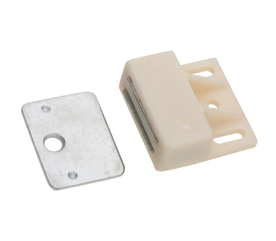 National Hardware N149-815 N149-823 1 Inch White Magnetic Catch Offset Mount With Strike