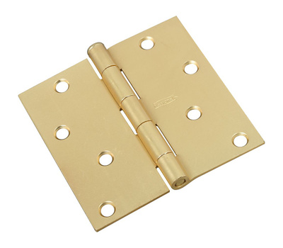 National Hardware N176-644 Door Hinge 4 Inch Square Corner Satin Brass