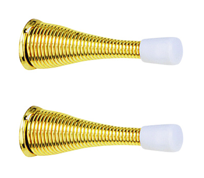 National Hardware N184-291 Heavy Duty Spring Door Stops 3 Inch Bright Brass 2 Pack