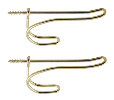 National Hardware N186-866 Wire Coat And Hat Hooks Bright Brass 2 Pack