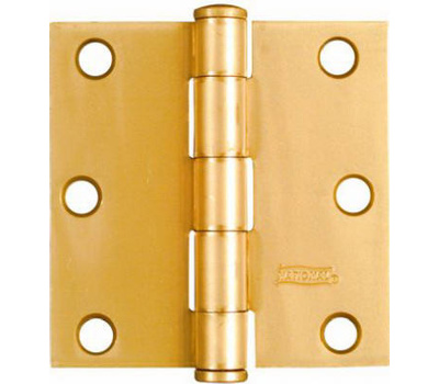 National Hardware N186-908 Door Hinges 3 Inch Square Corner Satin Brass 2 Pack