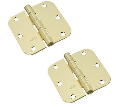 National Hardware N189-720 Door Hinges 3-1/2 Inch 5/8 Radius Satin Brass 2 Pack