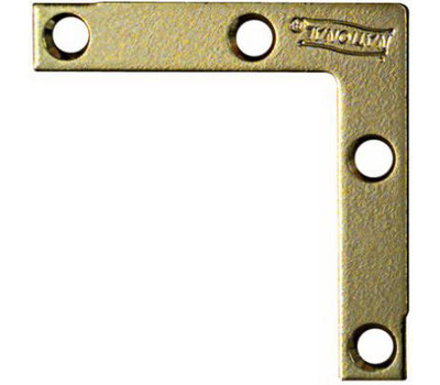 National Hardware N190-876 Flat Corner Iron Braces 2 By 3/8 By 0.07 Inch Brass Finish Steel 4 Pack
