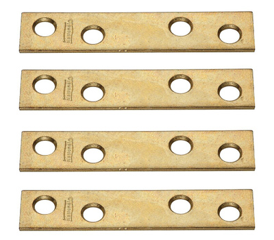 National Hardware N191-007 Mending Braces 3 By 5/8 By 0.08 Inch Brass Finish Steel 4 Pack