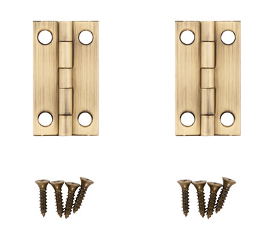 National Hardware N211-227 1-1/2 By 7/8 Inch Antique Brass Finish Narrow Hinges 2 Pack
