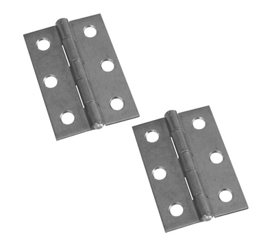 National Hardware N227-256 Non-Removable Fixed Pin Narrow Hinges 2-1/2 By 1-11/16 Inch Zinc Plated Steel 2 Pack