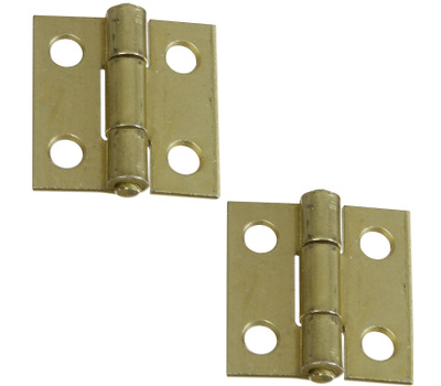 National Hardware N237-354 N145-946 S802-000 Non-Removable Fixed Pin Narrow Hinges 1 By 1 Inch Satin Brass Finish Steel 2 Pack