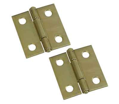 National Hardware N237-362 N146-068 S802-010 Non Removable Pin Narrow Hinges 1-1/2 Inch Brass Finish 2 Pack