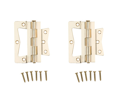 National Hardware N244-822 Bi-Fold Non Mortise Door Hinges 4 Inch Brass Plated Steel 2 Pack