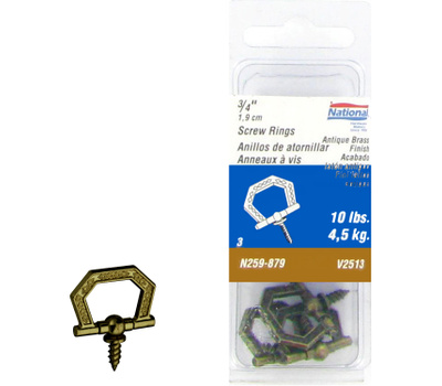 National Hardware N259-879 Decorative Screw Ring 3/4 Inch Antique Brass 3 Pack