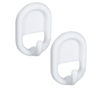 National Hardware N308-197 S752-017 Self Adhesive Oval White Plastic Hooks 2 Pack
