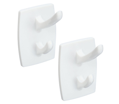 National Hardware N308-270 Self Adhesive Double Hooks White 2 Pack