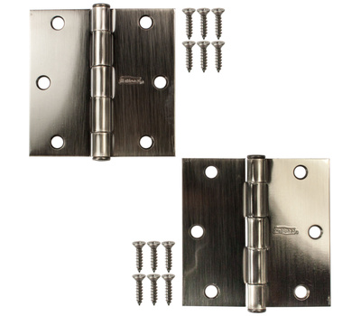 National Hardware N324-939 3-1/2 Inch Square Corner Door Hinges Pewter 2 Pack