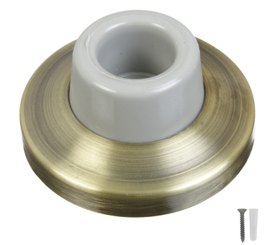 National Hardware N336-297 N336-313 Concave Wall Door Stop 2-3/8 Inch Antique Brass On Brass