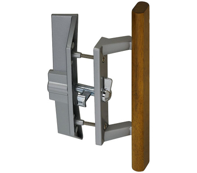 National Hardware N349-209 S843-219 Patio Door Locking Handle And Latch Set With Key Aluminum And Wood