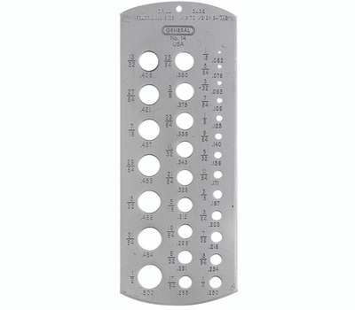 General Tools 14 Stainless Steel Professional Drill Bit Gauge