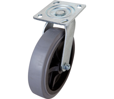 Shepherd Hardware 3186 Grey Thermoplastic Rubber Wheel 8 Inch Swivel Caster 700 Pound Rated