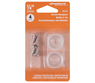 Shepherd Hardware 9072 Screw Bumper Clear 7/8In 4 Pack