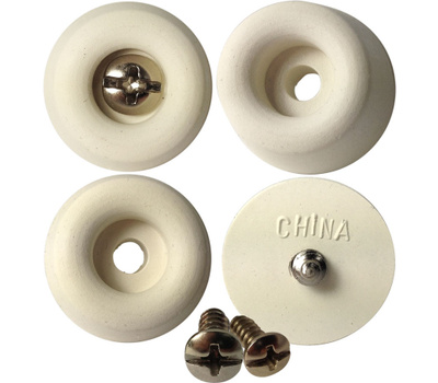 Shepherd Hardware 9131 7/8 Inch White Rubber Screw Bumpers 4 Pack