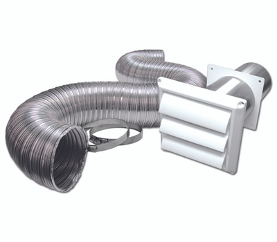Lambro 313WUL Vent Kit Dryer Plst 4inx8ft Wh