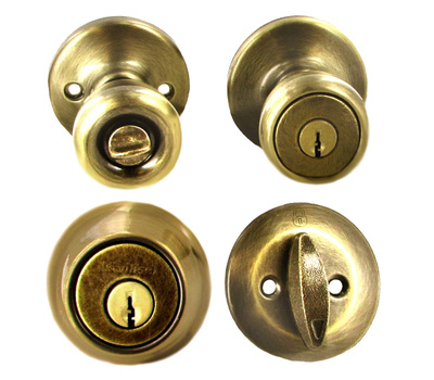 Kwikset 690T 5 CP K6 Tylo Keyed Entry And Single Cylinder Deadbolt Antique Brass