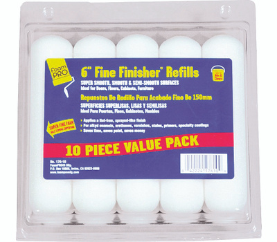 Foampro 176-10 6 Inch Fine Finish 10 Pack Refills For Clears And Enamels