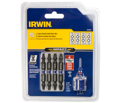 Irwin 1903522 Double Ended Impact Power Bits 5 Piece Star