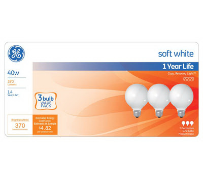 GE Lighting 44742 3PK 40W WHT Globe Bulb