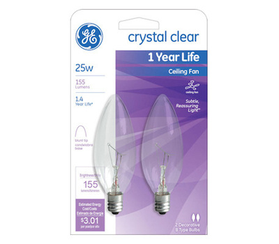 Ge lighting 81560 2 pack 25 watt ceiling fan bulb 043168815604 2 ge lighting 81560 2 pack 25 watt ceiling fan bulb aloadofball Choice Image