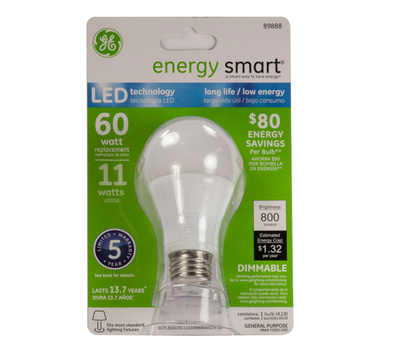 GE Lighting 89888 Dimmable 800 Lumen LED 60 Watt A19 Replacement Bulb