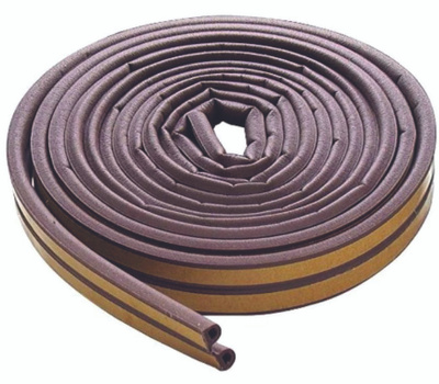 MD Building Products 63602 17 Foot Brown Self Adhesive D-Strip Rubber Weatherstrip