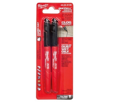Milwaukee 48-22-3105 INKZALL Fine Point Black Permanent Jobsite Marker Pack Of 2
