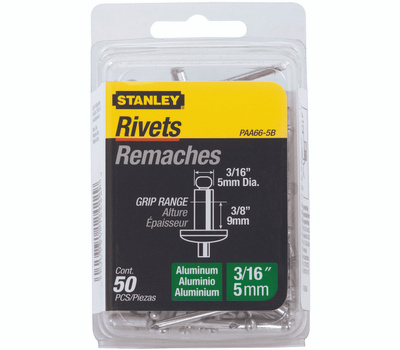 Stanley Tools PAA66-5B Aluminum Rivets 3/16 Diameter X 3/8 Inch Length 50 Pack