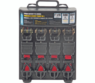 ProSource FH64069 Ratchet Tie Down 500 Pound 15 Foot 4 Pack