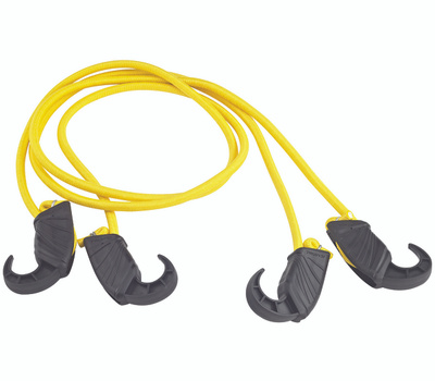 ProSource FH4036 Mintcraft Adjustable Stretch Cord 48 Inch 8mm Non-Scratch Durable Plastic Hook End Yellow 2 Pack