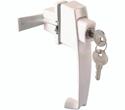 ProSource 47015-UKW-PS Storm And Screen Door Latch Push Button Keyed White
