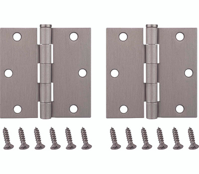 ProSource BH-202SN-PS Door Hinges Square 3-1/2 By 3-1/2 Inch Satin Nickel 2 Pack
