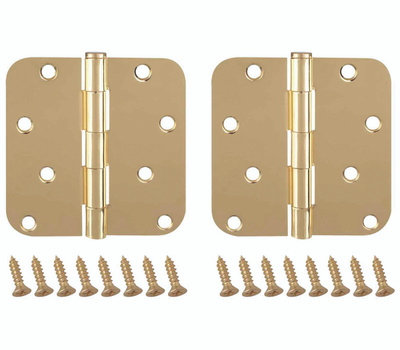 ProSource BH-402PB-PS Door Hinges 4 Inch 5/8 Inch Radius Bright Brass 2 Pack