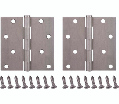 ProSource BH-502SN-PS Door Hinge Square 4 By 4 Inch Satin Nickel 2 Pack