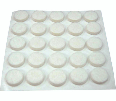 ProSource FE-S301-PS Pad Felt Light Duty Round 3/8 Inch White 75 Pack