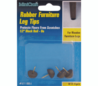 ProSource FE-50670-PS Leg Tip Rubber Nail 1/2 Inch Black 4 Pack