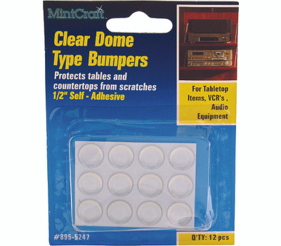 ProSource FE-50762A-PS Dome Self-Adhesive Furniture Bumper Disks 1/2 Inch Round Clear Plastic 12 Pack