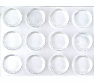 ProSource FE-50762B-PS Flat Self-Adhesive Furniture Bumper Disks 1/2 Inch Round Clear Plastic 12 Pack
