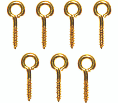 ProSource LR245 Mintcraft Small Eye Screw Eyes 13/16 Inch #214 Solid Brass 7 Pack