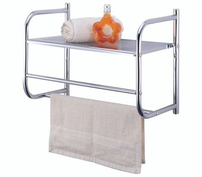 Simple Spaces BR32-CH Chrome Wall Rack With Metal Shelf