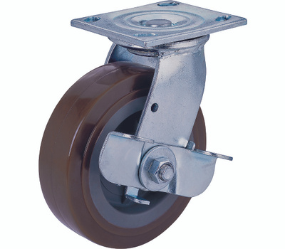 ProSource JC-P08 Polyurethane Plate Caster 8 By 2 Inch With Brake