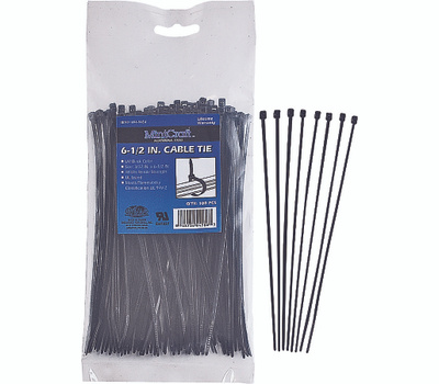 ProSource CV165W-1003L Cable Ties 6-1/2 Inch 18 Pound Black 100 Piece