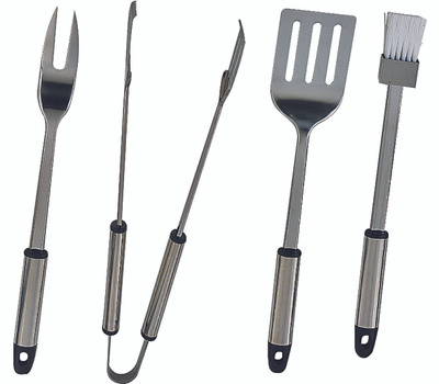 Omaha Q-430A3L 4 Piece Bbq Tool Set Stainless Steel