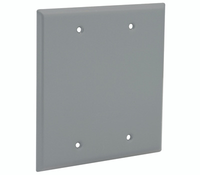 Hubbell 5175-0 Bell Blank Cover 2 Gang Box Mount Gray